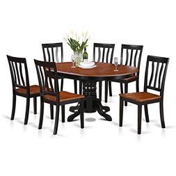 East West Furniture AVAT7-BLK-W 7-Piece Dining Table Set Bra