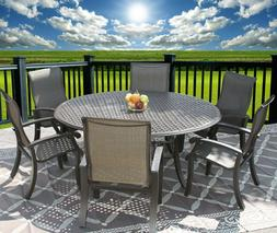 Barbados Sling Patio 7pc Dining Set for 6 Person with 71 Rou