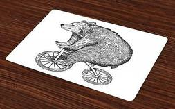 Bicycle Placemats Set of 4 Ambesonne Washable Fabric Place M
