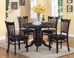 Black Dinning Set 5pc Casual Round Pedastool Table 4 Chairs