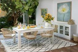 block legs white dining table with rattan