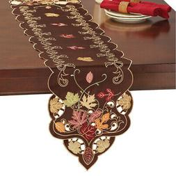 Chocolate Brown Fall Leaves Embroidered Table Runner / Toppe