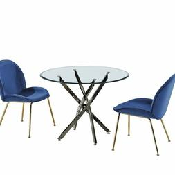 Chrome Round Glass Dining Table -Modern Banquet - Conference
