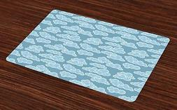 Cloud Placemats Set of 4 Ambesonne Washable Fabric Place Mat