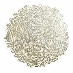 "Benson Mills Blossom Pressed Vinyl Placemat, , 15.5"" , Gold"
