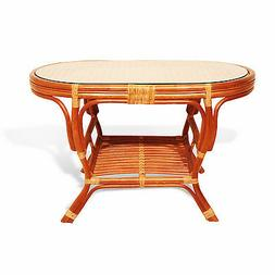 Coffee Oval Pelangi Table with Glass Top Natural Wicker Ratt