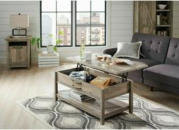 Coffee Table Lift-Top Wooden Rustic Gray Modern Farmhouse Hi