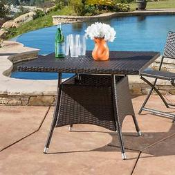 Corsica Outdoor Wicker Square Dining Table  by Brown
