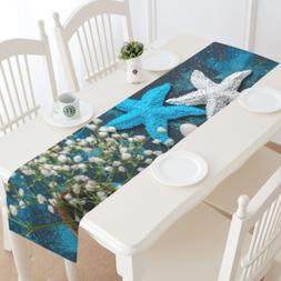InterestPrint Custom Beautiful Sea Table Runner Cotton Linen