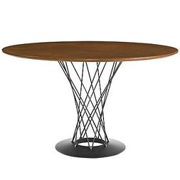 Cyclone Round Wood Top Dining Table-Walnut Color