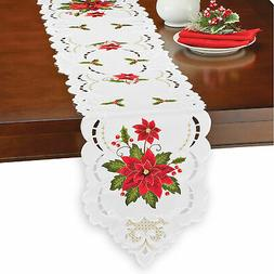 Delicate Poinsettia Embroidered Table Linens - Holiday Dinin