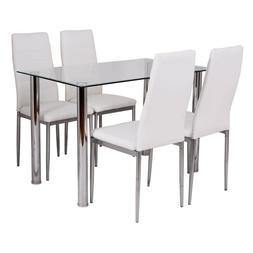 Dining Table Set For 4 White Padded Chair Metal Glass Top Ta