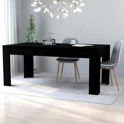 vidaXL Dining Table Sleek Modern Black Chipboard Home Kitche