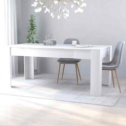 vidaXL Dining Table Sleek Modern White Chipboard Home Kitche