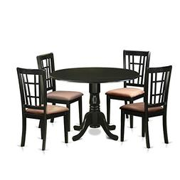 East West Furniture DLNI5-BLK-C 5 Piece Dining Table and 4 C