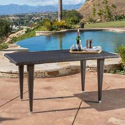 Dominica Outdoor Rectangle Wicker Dining Table  by