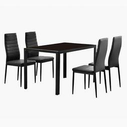 Durable 5 Piece Dining Table Set 4 Chairs Glass Metal Kitche
