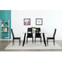 Durable 5 Piece Dining Table Set 4 Chair Glass Metal Kitchen