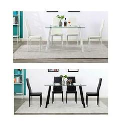 Durable Glass 5 Piece Dining Table Set 4 Chairs Kitchen Room