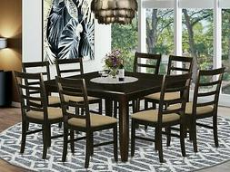 "East West 9pc Parfait dining set, 54x54"" table + 8 padded se"