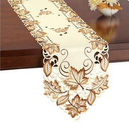 Elegant Fall Table Runner / Topper with Embroidered Brown Le