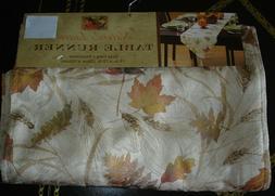 "Fall, Autumn Harvest Benson Mills Nature's Leaves 72"" Table"