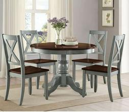 Farmhouse Dining Table Set Rustic Round Dining Room 5 Piece