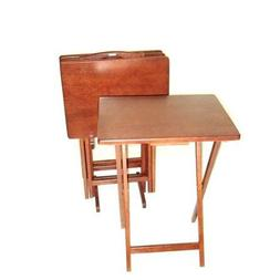 5 Piece Folding Tray Table Set Wooden Home Decor with Rack f