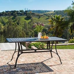 Fonzo Outdoor Bronze Cast Aluminum Rectangular Dining Table
