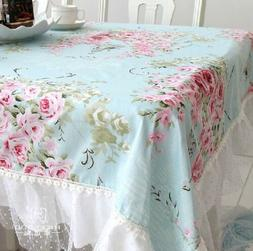 French Country Cottage Shabby Chic Floral Rose Blue Lace Tab