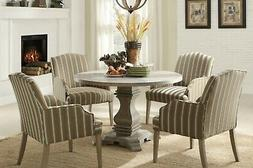 FRENCH INSPIRED CASUAL URN PEDESTAL DINING TABLE & POSH UPHO