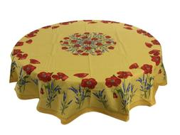 French Provencal 100% Cotton Tablecloth Poppies Lavender Yel