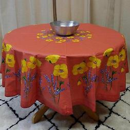 French Provencal Tablecloth Acrylic Coated Cotton Poppy Salm