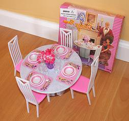 GLORIA FURNITURE DOLL HOUSE 4 CHAIRS DINING ROOM TABLE CHAIR