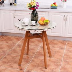 goplus round dining table steel frame tempered
