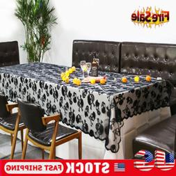 Halloween Black Lace Skull Web Table Runner Tablecloth Party