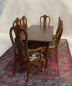 Handcrafted/Signed Dining Table with 4 Side Chairs, 2 Armcha