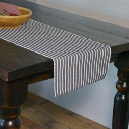 HARMONY NAVY Ribbed Table Runner Farmhouse Stripe White VHC