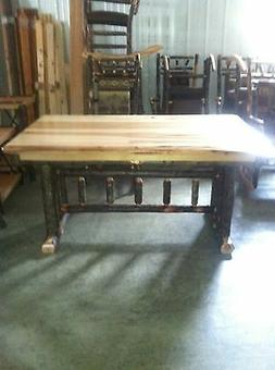 """Hickory / Hickory & Oak Rustic Trestle Dining Table - 60"""" -"""
