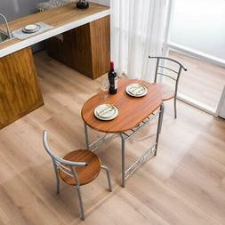 High Quality 3 Piece Dining Table Set 2 Chairs Brown Metal K