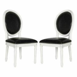 Safavieh Holloway Leather Side Dining Chair - Set of 2