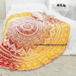 Home Decor Ombre Mandala Cotton Beach Throw Yoga Mat Table C