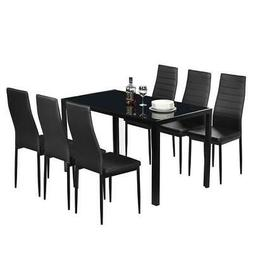Hot 6 Person Dining Table Set Chairs Black Glass Table Metal