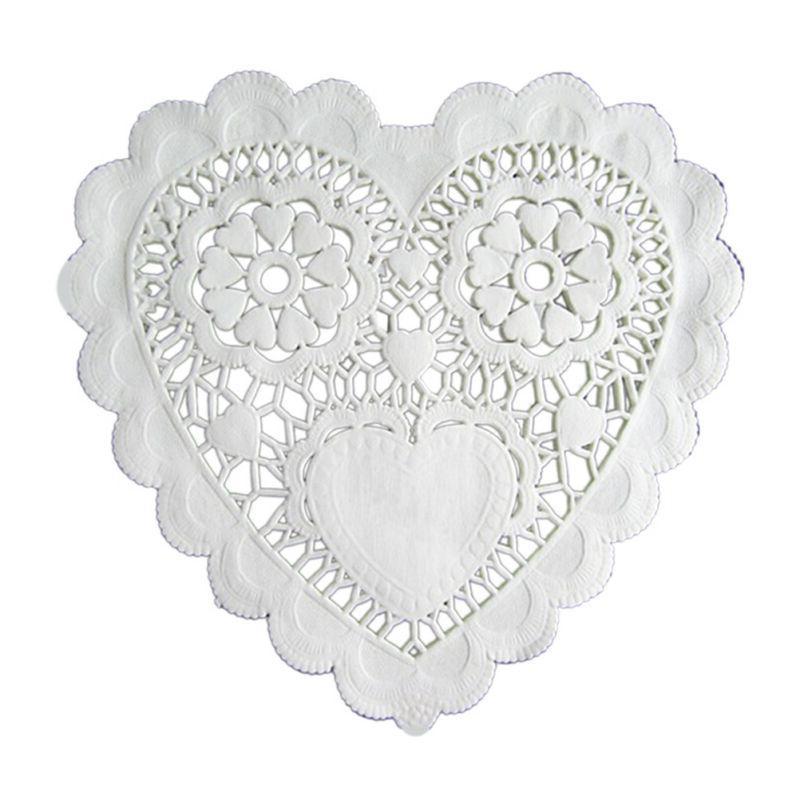 100 Pcs 5.5 Inch Placemats Love Heart Table Mats Paper Doili