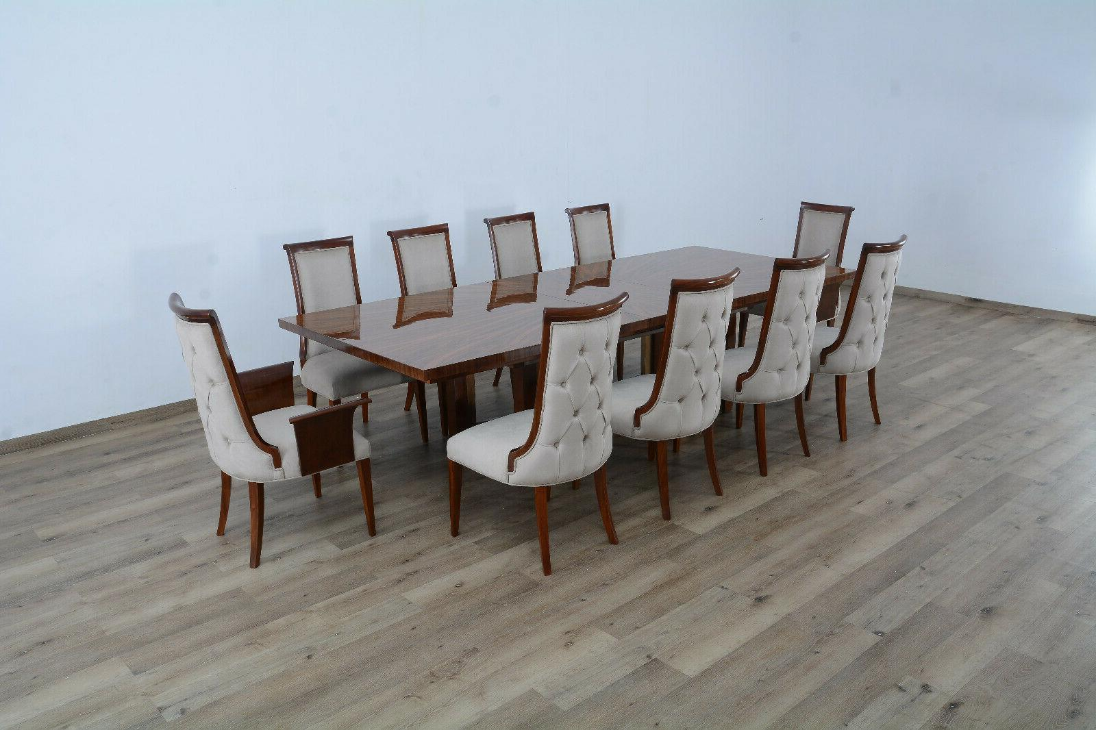11pc luxury dining table leaf side chair