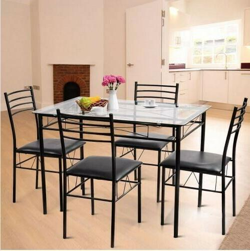 2019 5pc dining set tempered glass top