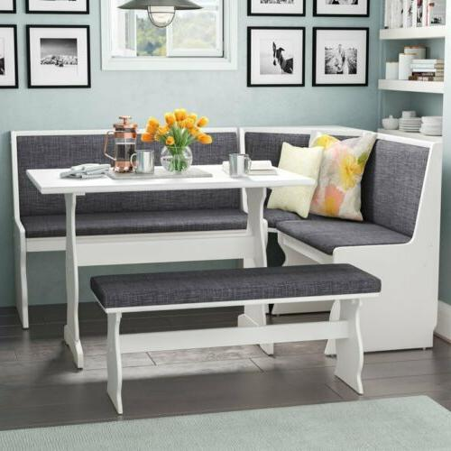 3 pc Gray White Top Breakfast Nook Dining Set Corner Booth B