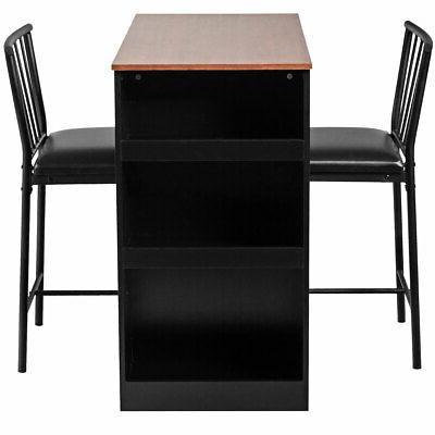 3-Piece Counter Table Set Bar Table Set 3 Storage Oak/Brown