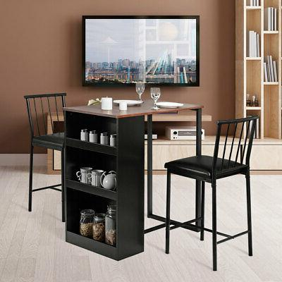 3-Piece Counter Bar Pub Dining Set with Storage