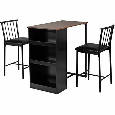 3-Piece Counter Set Bar Pub Set with Storage Oak/Brown